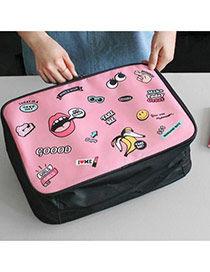 Cute Pink Cartoon Pattern Decorated Portable Travel Storage Bag