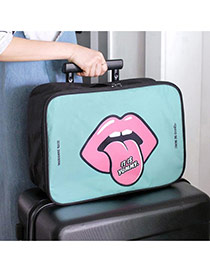 Cute Mint Green Big Mouth&lip Pattern Decorated Travel Storage Bag
