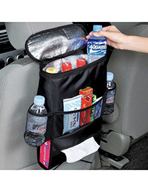 Fashion Black Pure Color Decorated Vehicle-mounted Heat Preservation Storage Bag