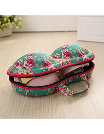 Fashion Green Flower Pattern Decorated Underwear Travel Storage Package
