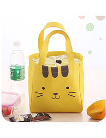 Cute Yellow Cartoon Cat Pattern Decorated Pure Color Lunch Bag