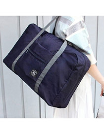 Fashion Navy Blue Pure Color Decorated Folding Waterproof Hand Bags
