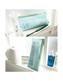 Fashion Sky Blue Color Matching Decorated Retiform Wash Gargle Storage Bag