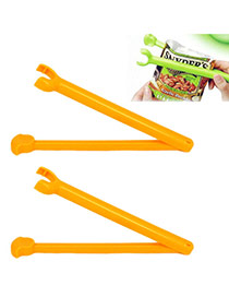 Fashion Yellow Pure Color Decorated Simple Food Sealed Clips(2pcs)