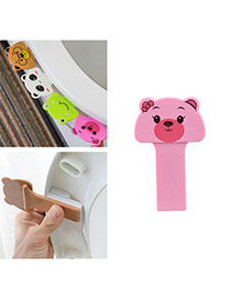 Cute Pink Bear Shape Decorated Pure Color Toilet Seat Cover Portable Device