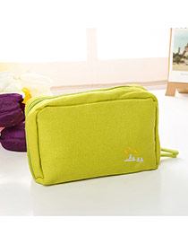 Fashion Green Embroidery Pattern Decorated Pure Color Cosmetic Bag