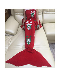 Fashion Red Christmas Series Pattern Decorated Pure Color Mermaid Shape Blanket