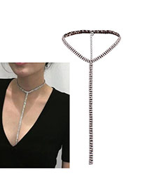 Luxury Gun Black Long Tassel Pendant Decorated Pure Color Chocker