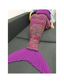 Fashion Purple Scale Pattern Decorated Mermaid Shape Blanket