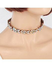 Fashion Multi-color Flower Shape Decorated Simple Chocker