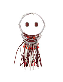 Exaggerated Claret-red Beads Tassel Pendant Decorated Short Chain Jewelry Sets