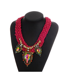 Elegant Purple Red Waterdrop Gemstone Pendant Decorated Hand-woven Chain Necklace