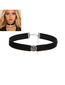 Elegant Black Smiling Face Decorated Pure Color Chocker