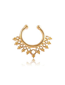 Vintage Gold Color Geometric Decorated Hollow Out Pure Color U Shape Nose Ring