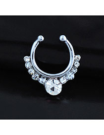 Vintage Silver Color Diamond Decorated U Shape Simple Nose Ring