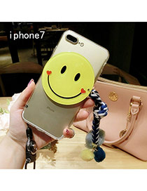 Cute Blue Smiling Face Shape Decorated Transparent Iphone7 Case