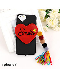 Sweet Black Letter&heart Shape Decorated Tassel Pure Color Iphone7 Case
