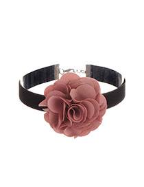 Sweet Black Flower Decorated Simple Pure Color Chocker