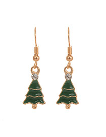 Cute Green Christmas Tree Shape Pendant Decorated Simple Earring