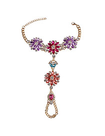 Exaggerate Multi-color Hollow Out Flower Shape Decorated Simple Anklets