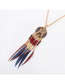 Fashion Multi-color Feather&round Shape Pendant Decorated Simple Necklace