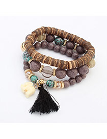 Cute Gray Elephant Pendant Decorated Multilayer Bracelet