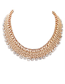 Elegant Gold Color Diamond Decorated Multilayer Collar Necklace