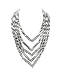 Elegant Silver Color Triangle Shape Decorated Multilayer Necklace