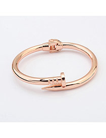 Fashion Rose Gold Pure Color Decorated Simple Nail Bracelet