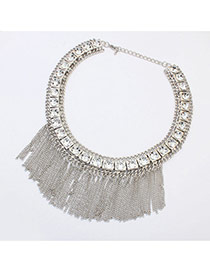 Elegant Whaite Metal Square Decorated Tassel Short Chain Necklace