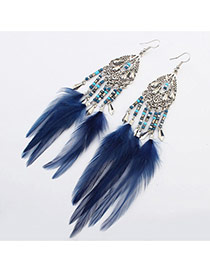 Fashion Blue Beads Weaving&feather Pendant Decorated Tassel Earring