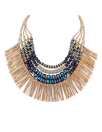 Fashion Gray+blue Tassel Pendant Decorated Multi-layer Sector Shape Collar Necklace