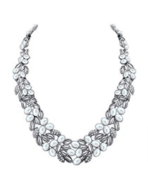 Fashion Silver Color Hollow Out Leaf&pearl Decorated Short Chain Simple Necklace