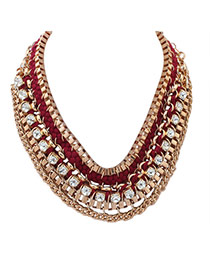 Exaggerated Red Square Diamond Decorated Hand-woven Collar Necklace