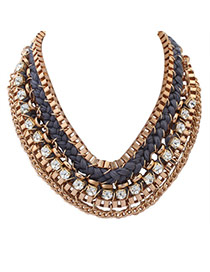 Exaggerated Gray Square Diamond Decorated Hand-woven Collar Necklace