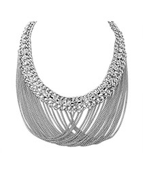 Fashion Silver Color Long Tassel Pendant Decorated Metal Chain Necklace
