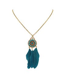 Fashion Green Feathers Pendant Decorated Water Drop Shape Necklace