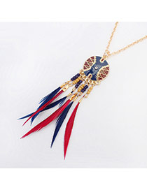Exaggerated Multi-color Long Tassel Pendant Decorated Round Shape Necklace