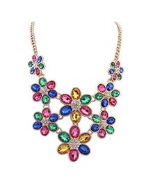 Lovely Multi-color Flower Shape Decorated Short Chain Necklace