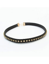 Fashion Black Square Diamond Decorated Pure Color Choker
