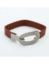 Fashion Brown Metal Buckle Decorated Simple Design Pure Color Bracelet