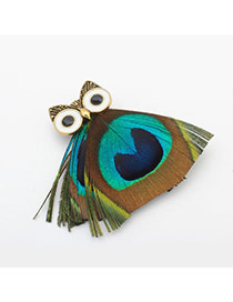 Vintage Multi-color Owl Shape Decorated Color Matching Design Brooch