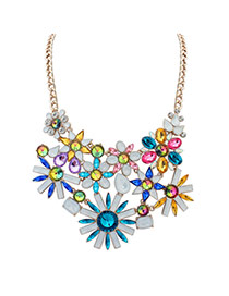Exaggerated Multi-color Geometric Shape Diamond Decorated Flower Shape Necklace