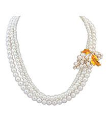 Elegant Yellow Pearl Maple Leaf Shape Decorated Multilayer Necklace