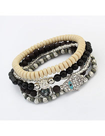 Vintage Black Hand Shape&eye Pattern Decorated Multilayer Bracelet