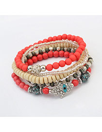 Vintage Red Hand Shape&eye Pattern Decorated Multilayer Bracelet