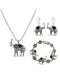 Vintage Black Elephant Shape Pendant Decorated Simple Jewelry Sets