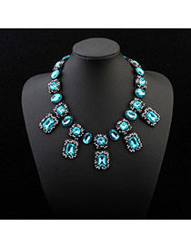 Fashion Light Blue Geometric Shape Gemstone Decorated Short Chian Simple Necklace