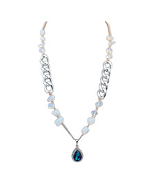 Elegant Blue Water Drop Shape Diamond Pendant Decorated Simple Necklace