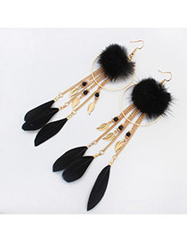 Trendy Black Feather&round Shape Decorated Tassel Earrings